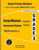 Georgia Milestones Assessment System Subject Test Mathematics Grade 3  Student Practice Workbook   Two Full Length GMAS Math Tests Paperback