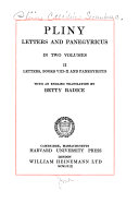 Letters, and Panegyricus: Letters, Books VIII-X, and Panegyricus