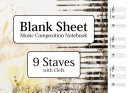 Blank Sheet Music Composition Notebook   9 Staves with Clefs
