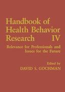 Pdf Handbook of Health Behavior Research IV