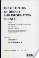 Encyclopedia of Library and Information Science: Volume 7 - Derunov: Konstantin Nikolaevitch