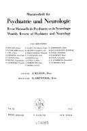 Monatsschrift f  r psychiatrie und neurologie Book