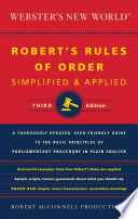 Webster s New World Robert s Rules of Order Simplified and Applied Book PDF