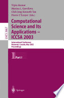 Computational Science and Its Applications   ICCSA 2003 Book