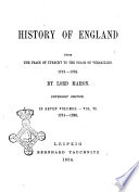 History of England from the Peace of Utrecht to the Peace of Versailles  1713 1783 by Lord Mahon Book