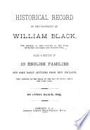 Historical Record Of The Posterity Of William Black