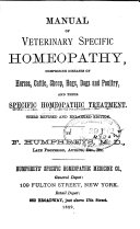 Manual of Veterinary Specific Homeopathy
