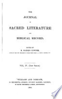 The Journal of Sacred Literature and Biblical Record Book PDF