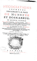 Negociations secretes touchant la paix de Munster et d'Osnabrug