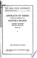 Abstracts of Theses Presented by Candidates for the Master's Degree ...