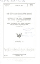 103d Congress Legislative Record of the Committee on Ways and Means  U S  House of Representatives