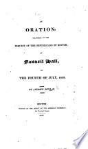 An Oration delivered     at Fanneil Hall  on the 4th of July  1822 Book