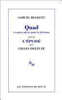 Pdf Quad et autres pièces pour la télévision, suivi de L'Épuisé par Gilles Deleuze