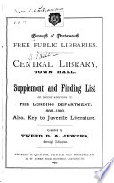 Supplement and Finding List of Recent Additions to the Lending Department  1888 1893 Book