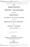 Pdf The Marylebone Penny Readings and Their Critics: an Address, Etc