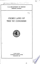 Crime Laws of the 73d Congress