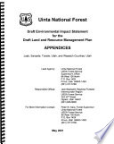 Uinta National Forest  N F    Land and Resource Management Plan  Juab  Sanpete  Tooele  Utah and Wasatch Counties Book