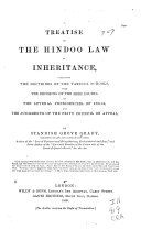 A Treatise on the Hindoo Law of Inheritance
