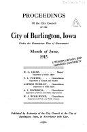 Proceedings Of The City Council Of The City Of Burlington Iowa