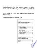 Water Quality In The Red River Of The North Basin Minnesota North Dakota And South Dakota 1992 95 Book