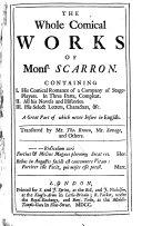Pdf The Whole Comical Works of Monsr. Scarron