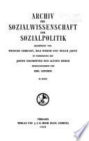 Archiv fur Sozialwissenschaft und Sozialpolitik