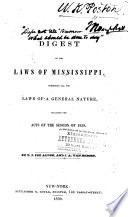 A Digest Of The Laws Of Mississippi