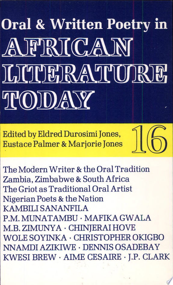 Oral & Written Poetry in African Literature Today