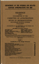 Department of the Interior and Related Agencies Appropriations for 2003