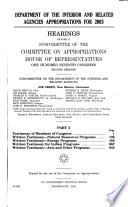 Department of the Interior and Related Agencies Appropriations for 2003  Testimony of members of Congress  written testimony