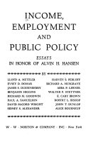 income employment and public policy essays in honor of alvin h front cover