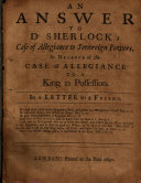 An Ansvver to Dr. Sherlock's Case of Allegiance to Sovereign Powers ebook