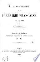 Catalogue général de la librairie française pen. dant 25 ans. (1840-1865)