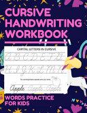 Cursive Handwriting Workbook Words Practice for Kids