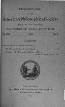 Proceedings, American Philosophical Society (vol. 62, 1923)