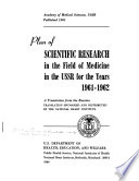 Plan of Scientific Research in the Field of Medicine in the USSR for the Years  1961 1962