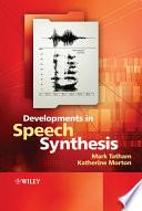 Developments in Speech Synthesis Book PDF