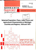 Research Report from the Michigan State University Agricultural Experiment Station  East Lansing