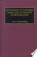 Dictionary of Theories  Laws  and Concepts in Psychology Book