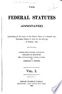 The Federal Statutes Annotated