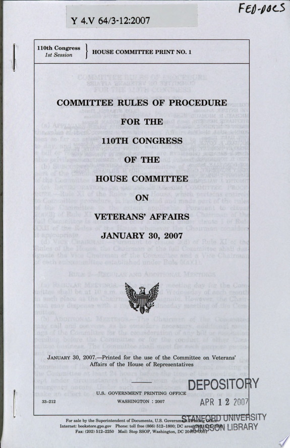 Committee Rules of Procedure for th