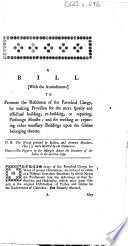 A Bill with the Amendments to Promote the Residence of the Parochial Clergy Book PDF