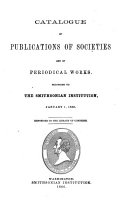 Catalogue of Publications of Societies and of Periodical Works