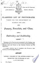 Classified List of Photographs  taken for the Department of Science and Art