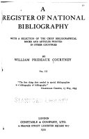 A Register of National Bibliography