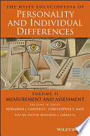 The Wiley Encyclopedia of Personality and Individual Differences  Measurement and Assessment Book