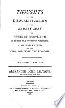 Thoughts on the Disqualification of the Eldest Sons of the Peers of Scotland