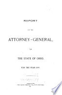 Report of the Attorney General of the State of Ohio for the Year