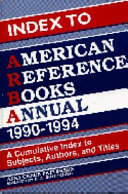 Index to American Reference Books Annual, 1990-1994
