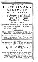 The Royal Dictionary Abridged     The Third Edition  Carefully Corrected and Improv d  Etc